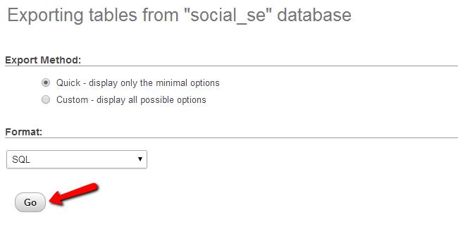 Download a backup of database via phpMyAdmin