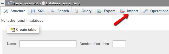 Import a database via phpMyAdmin