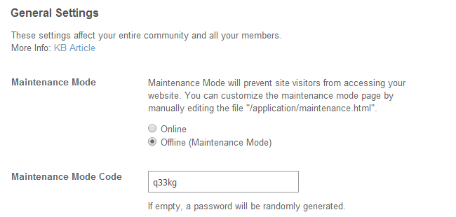 Enable maintenance mode in SocialEngine