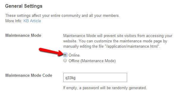 Disable maintenance mode in SocialEngine