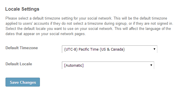 Edit locale settings in SocialEngine