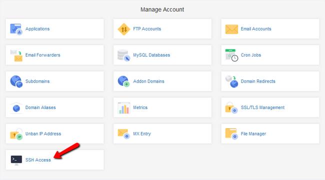 Navigating to the SSH Access menu