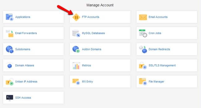 Accessing the FTP Accounts menu