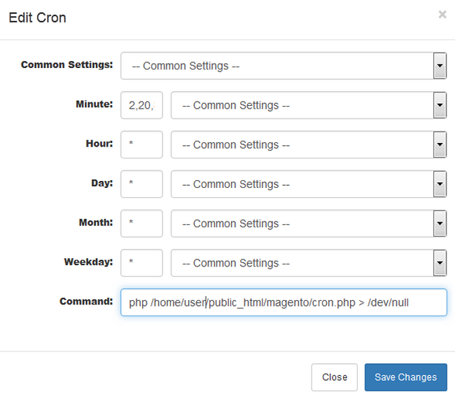 Re-configuring a Cron Job