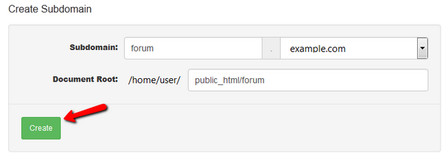 Creating a new Subdomain