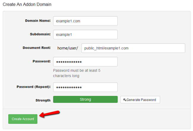 Creating a new Addon Domain