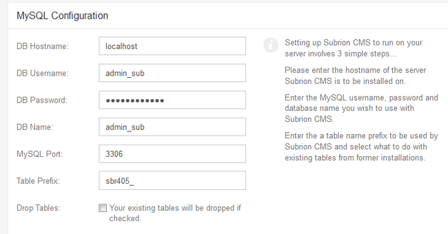 Configuring the Database Settings for Subrion