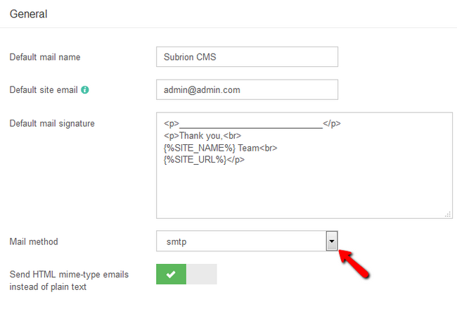 Configuring the mail address, signature and enabling smtp in Subrion