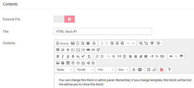 Titling and filling out the block with content