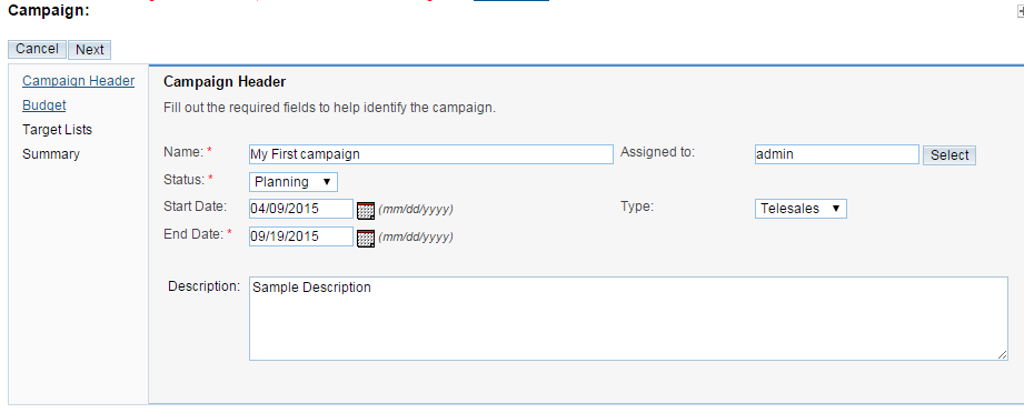 configuring the campaign header