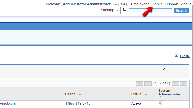 accessing the admin section