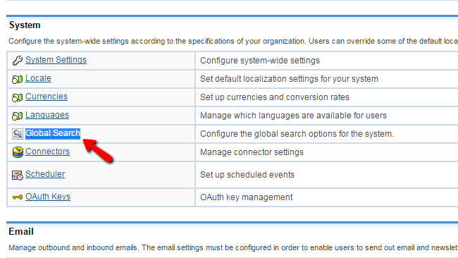 Accessing the Global Settings page