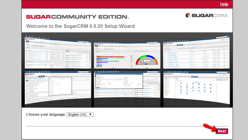 beginning the sugarcrm ce instlalation