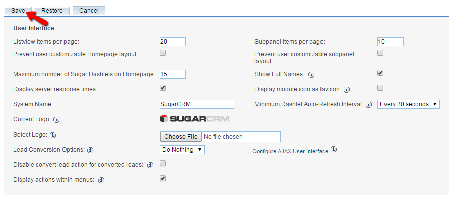 configure the user interface settings
