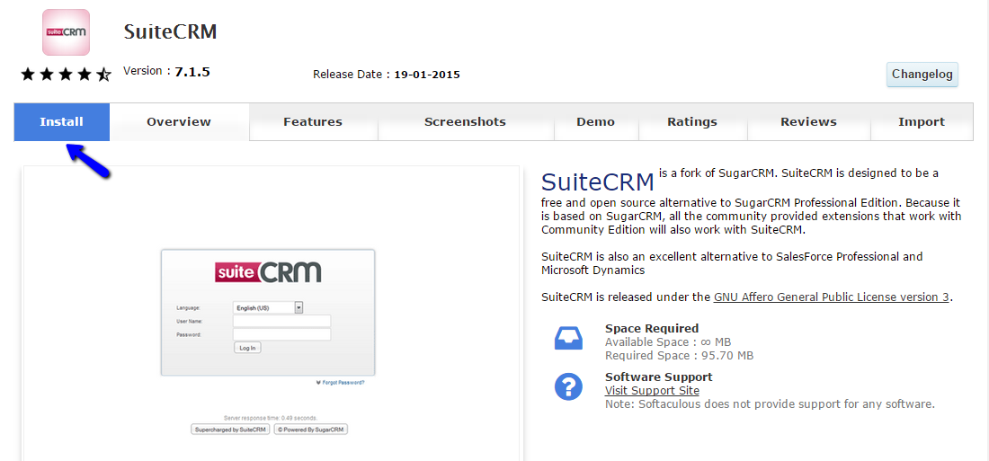 Install SuiteCRM via Softaculous