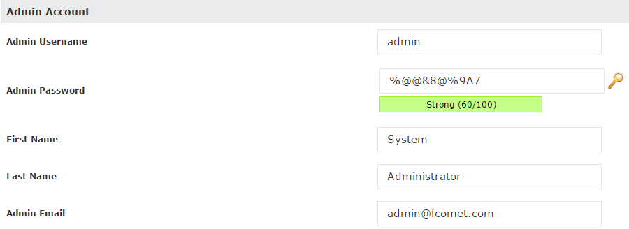 Admin Account Setup During Softaculous SuiteCRM Installation