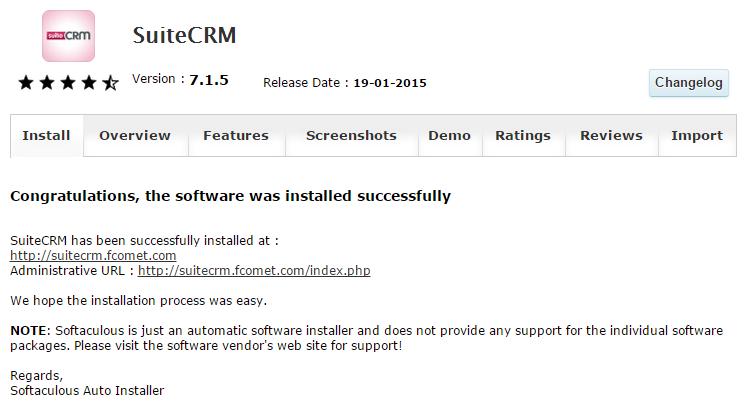 Successful SuiteCRM Installation via Softaculous
