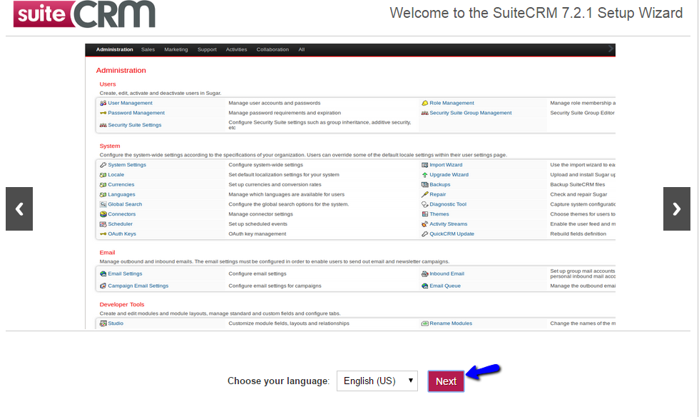 SuiteCRM Installation - Choose Language