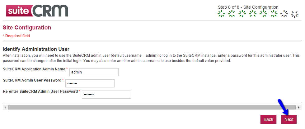 SuiteCRM Installation - Site Configuration