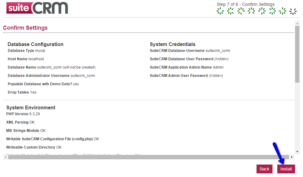 SuiteCRM Installation - Confirm Settings