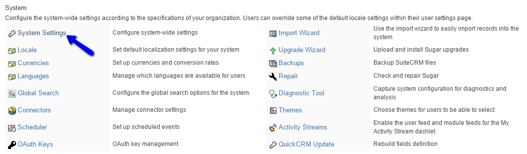 Access System Settings in SuiteCRM