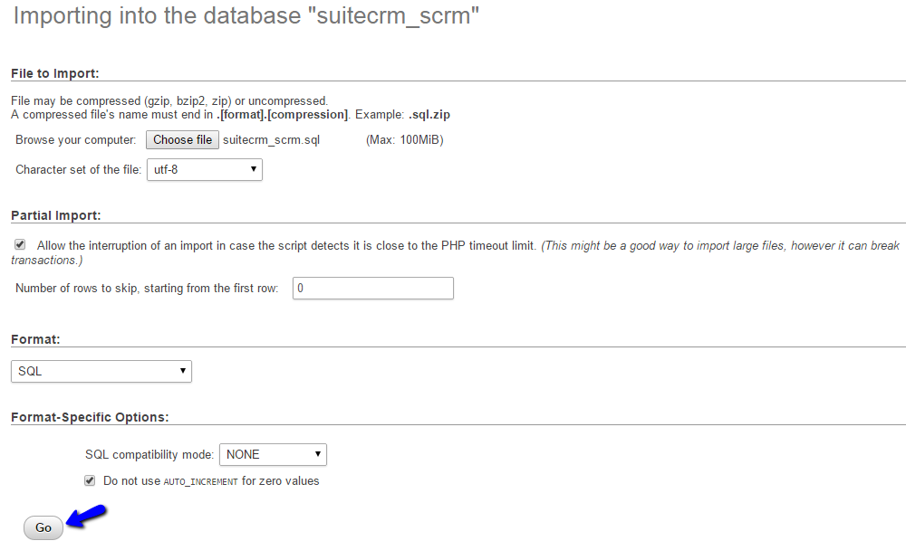 Upload Database Dump Backup via phpMyAdmin