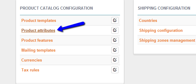 Access product attributes feature in Thelia