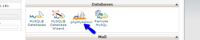Access phpMyAdmin service in cPanel