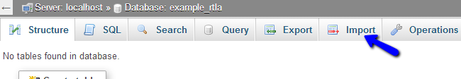 Access import feature for a database via phpMyAdmin