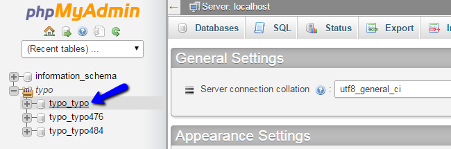 Access new database in phpMyAdmin