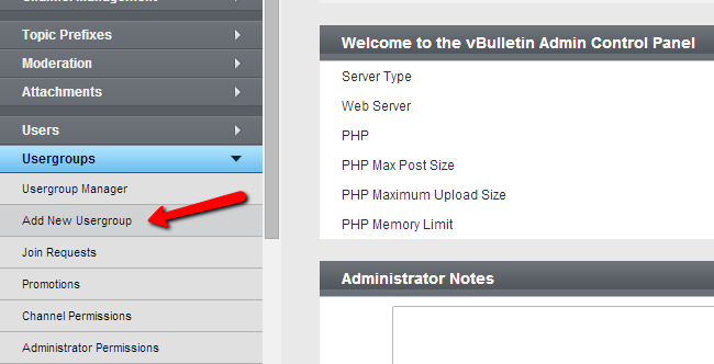Create a new usergroup in vBulletin