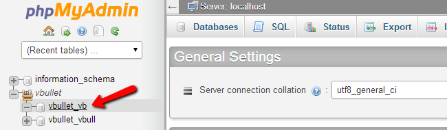 Access vBulletin database via phpMyAdmin