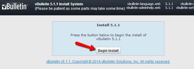 Begin vBulletin install
