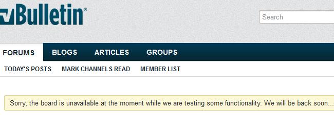 vBulletin default maintenance message
