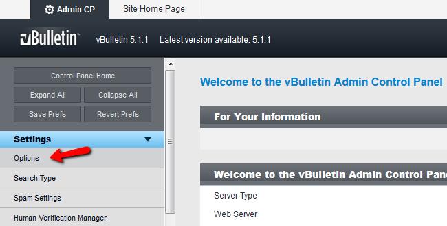vBulletin settings panel