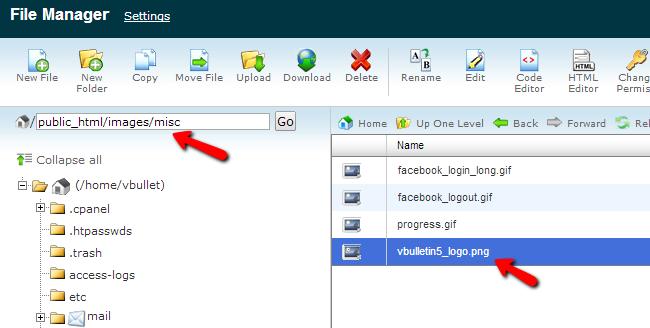 Locate vBulletin logo file