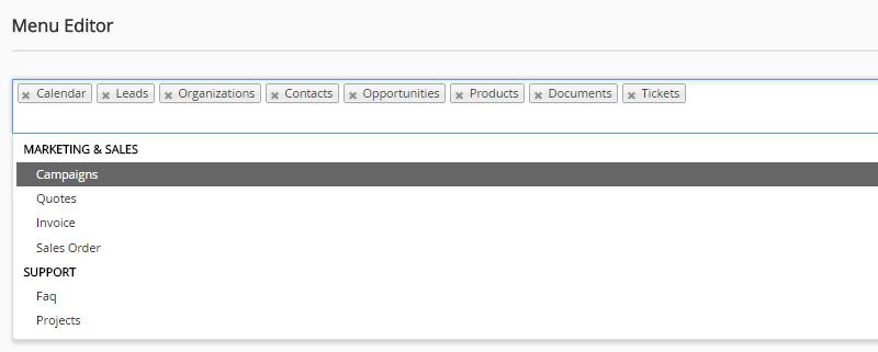 Edit menu configuration in vTiger