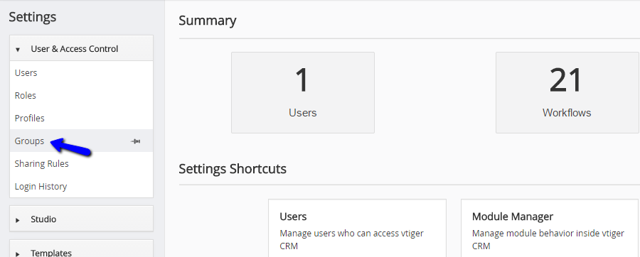 Access groups manager in vTiger