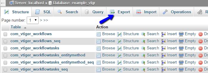 Export feature in phpMyAdmin