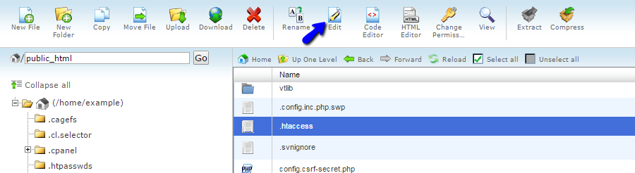 Edit file using file manager in cPanel