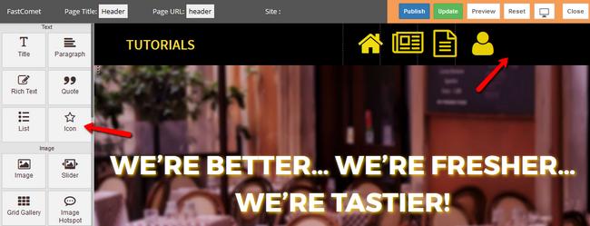 Using the Icon Widget in the website builder to create menus