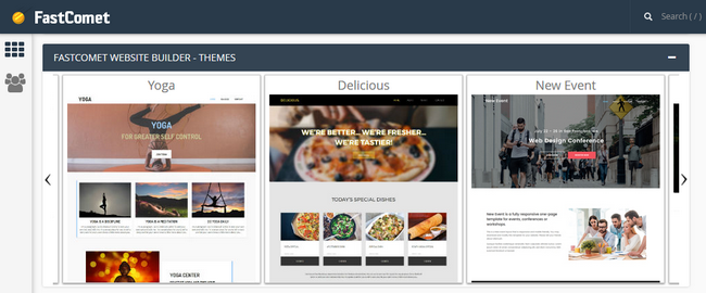 Selecting a theme from the website builder theme slider