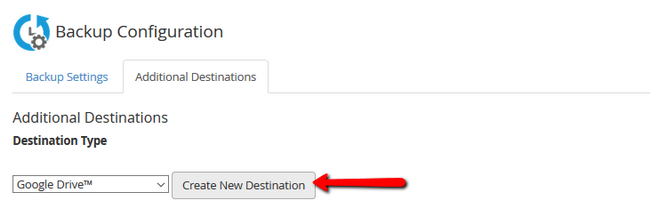 Selecting Google Drive as Additional Destination in your backup configuration