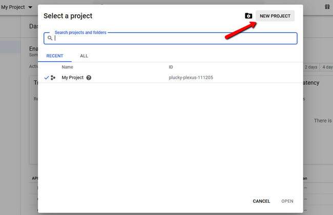 Adding a new google project