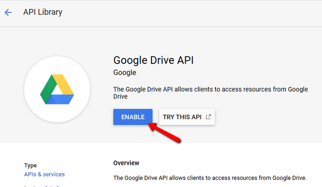 Enabling the Google Drive API