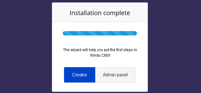 Windu installation completed