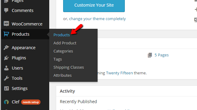 accessing the products management page