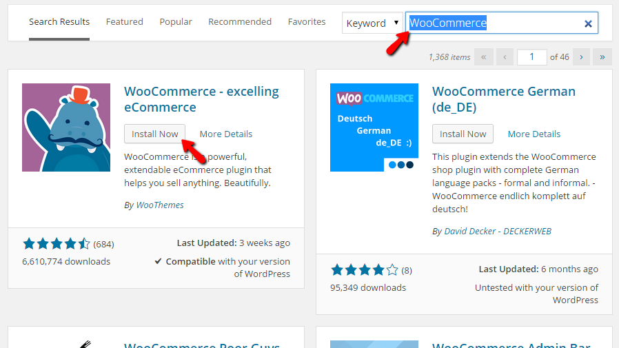 Searching and installing WooCommerce