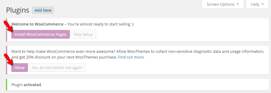 Installing the WooCommerce pages