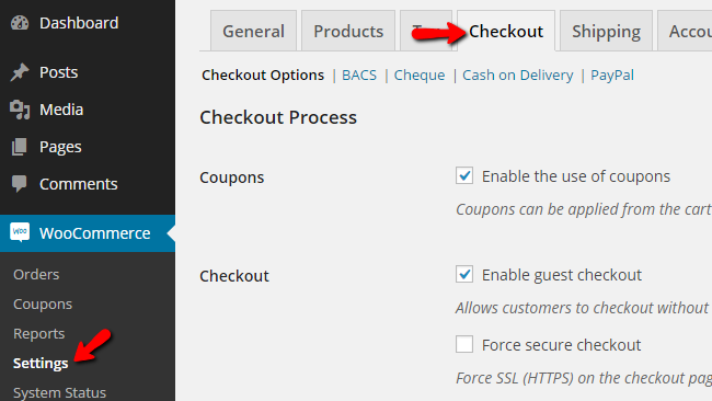 accessing the checkout options